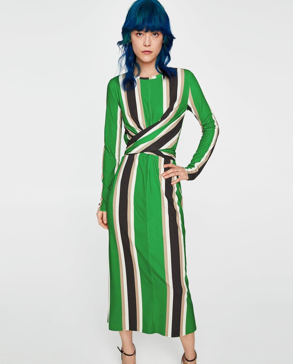 Vestido verde de rayas zara
